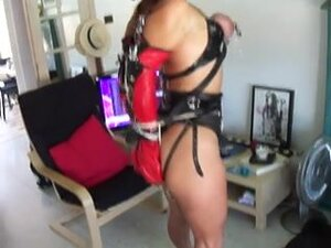 Sexy slave girl with tortured breasts dominated,