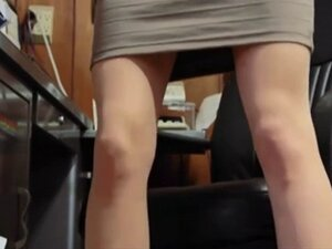 Redhead Secretary In Nylons And Glasses Plays At