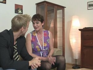 granny in stockings takes it on the couch