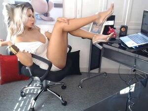 Secretary has amazing hair, body, legs, feet &