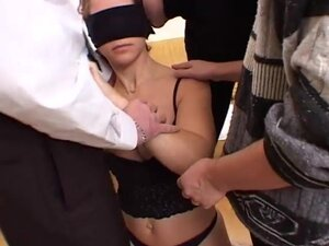 Blindfolded girl gets fucked from all angles -
