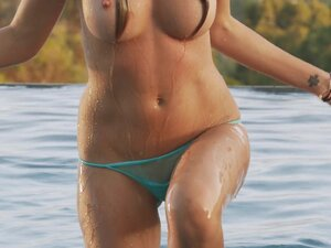Sizzling Model With Big Fake Tits Touching Her