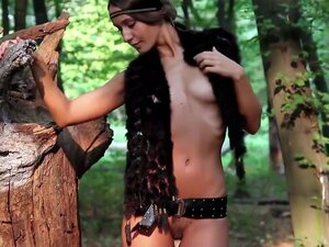 Super cute teen Vanessa spreading in nature,