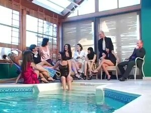 Rich people getting turn on near a pool