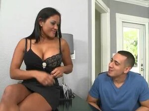 Brunette Sucks Her New Employees Cock