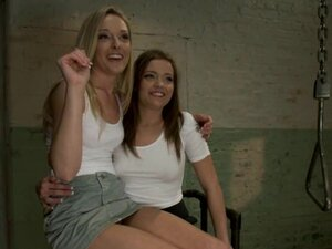 Two pretty chicks use fucking machines in their