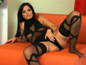 Pretty brunette Black Angelica plays with shaved
