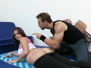 Big yoga amateur is put through camp and spanked