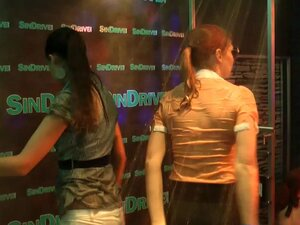 Immaculate amateur party girls get soaked dancing