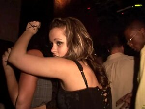 Night club babes in slutty dresses shake their