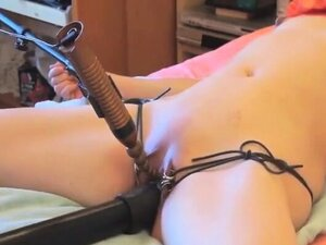 Submissive girl tied and masturbated