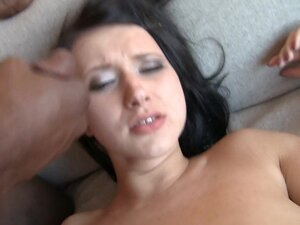 Brunette with big tits masturbates with a big