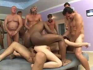Gangbang for a young darkhaired slut,