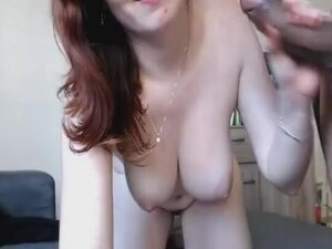 Redhead Chick Sucking and Jerking a Black Cock
