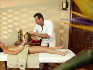 Petite massage babe sucks cock on her knees