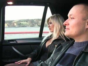 FakeTaxi Big tits blonde fucks partner on taxi