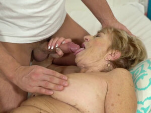 Old granny riding and sucking