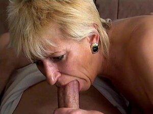 Dirty blonde old grandma loves sucking