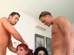 Young black haired and redhead sluts Angel D and