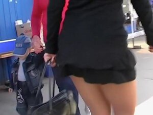 Delightsome upskirt beauty in a dark suit, This is