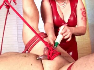 Naughty mistress ropes sex slave and sexually