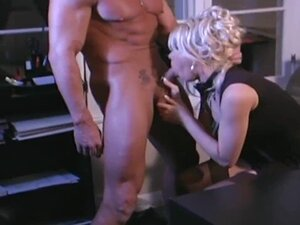 Busty blonde secretary fucking in stockings and