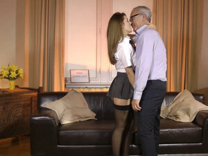 Naughty schoolgirl takes old mans dick